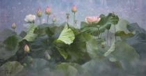 油画《荷花》朝鲜一级画家