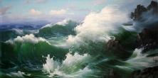 油画《大海》朝鲜功勋艺术