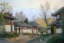 油画《开城老街》朝鲜人民