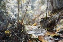 油画《密林中的溪水》具镇