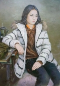 朝鲜油画《女工贤美》文赫