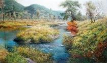 朝鲜油画《故乡的秋景》金