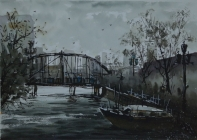莫雄飚作品;《桥上美景》